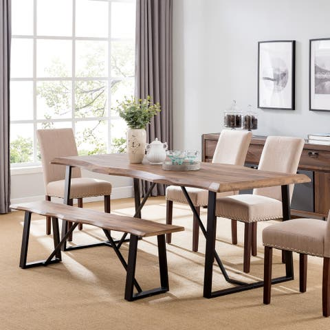 Lakeith Modern Eclectic Natural Wood Metal Dining Table - Natural / Black