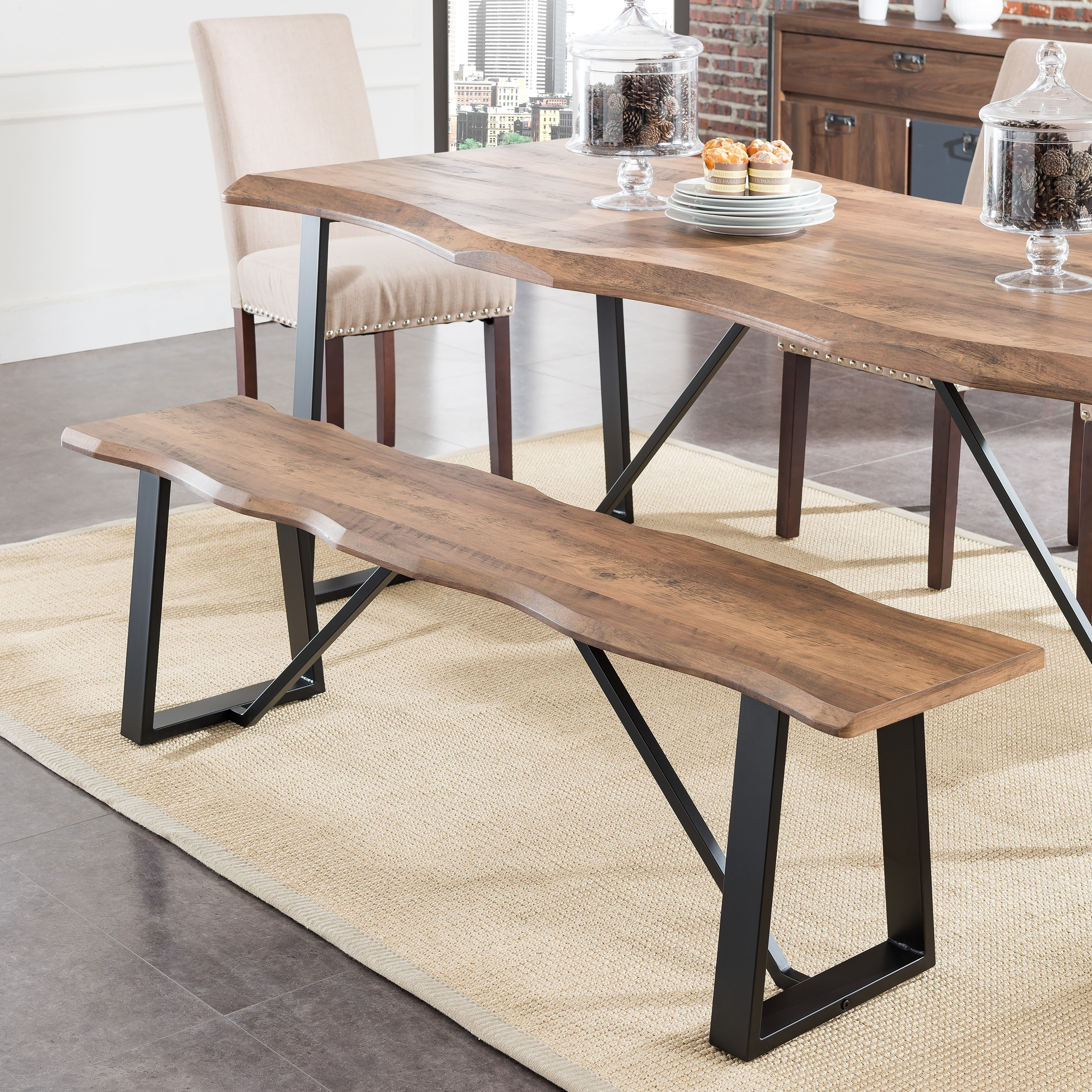 Lakeith Modern Eclectic Natural Wood Metal Dining Benches Set Of 2 On Sale Overstock 28265786