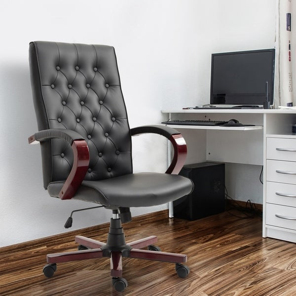Faux Leather Wooden High Back Executive Home Office Chair