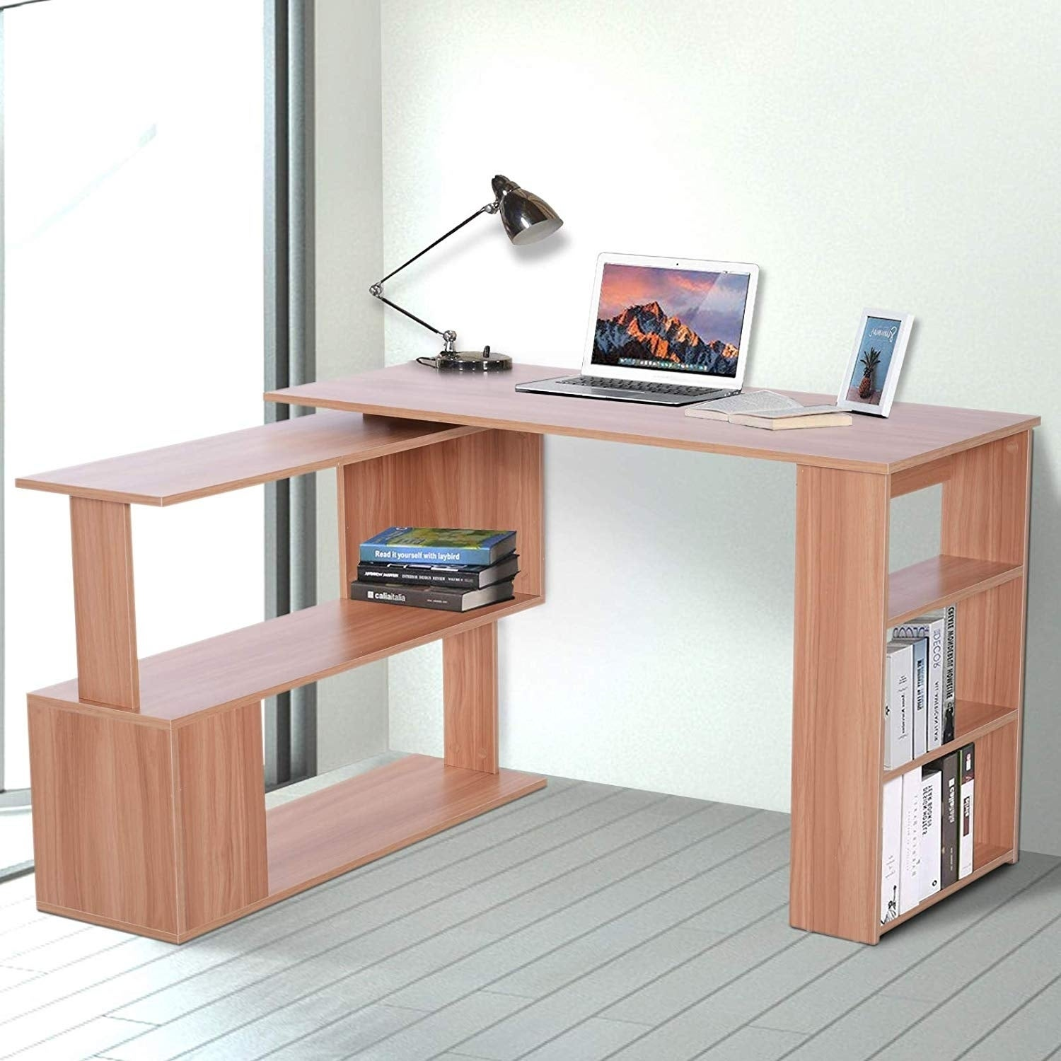 cheap for discount 7c755 aecdc HomCom Modern L Shaped Rotating Computer Desk with Bookshelves