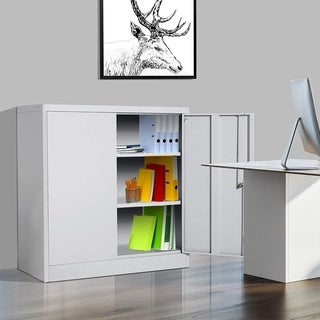 "HomCom 36"" Counter Height Metal Locking Storage Cabinet with 2 Adjustable Shelves"