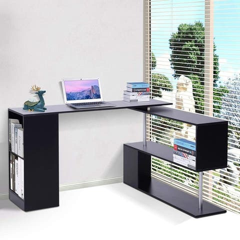 HomCom Modern L Shaped Rotating Computer Desk with Shelves