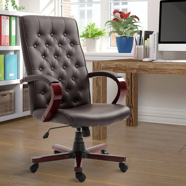 Leather Wooden High Back Executive Home Office Chair
