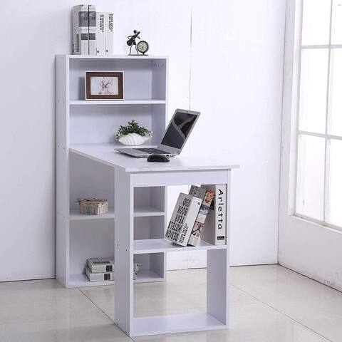 "HomCom 47"" Wood Grain Home Hobby Desk Table with Storage"