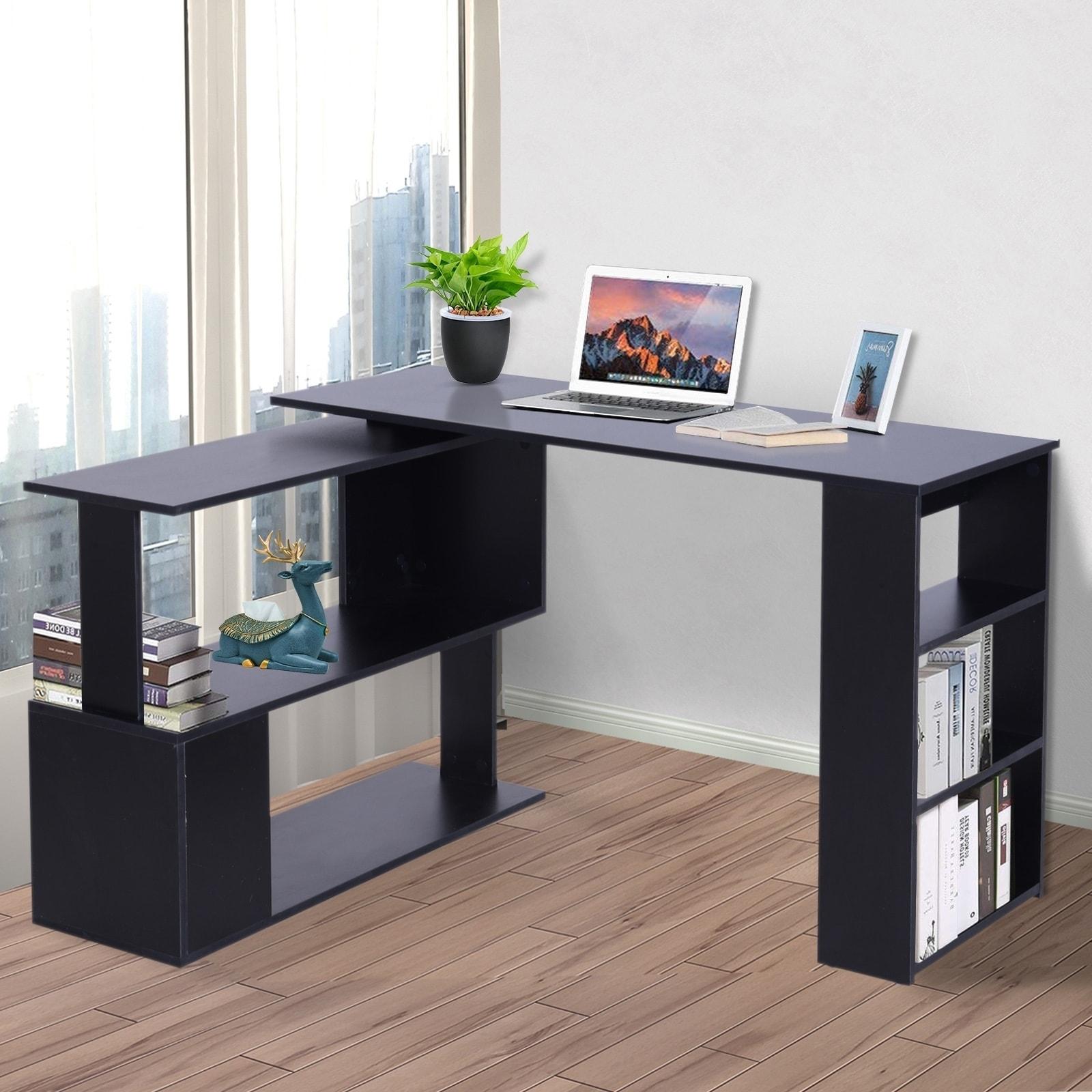 Porch Den Arbordale Black Finish L Shaped Rotating Computer Desk With Bookshelves Overstock 28265907