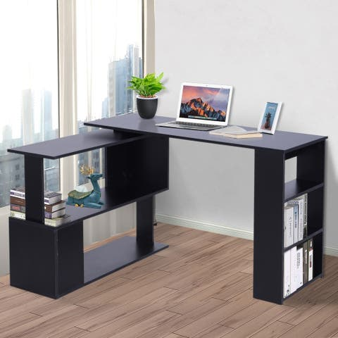 Porch & Den Arbordale Black Finish L-shaped Rotating Computer Desk with Bookshelves