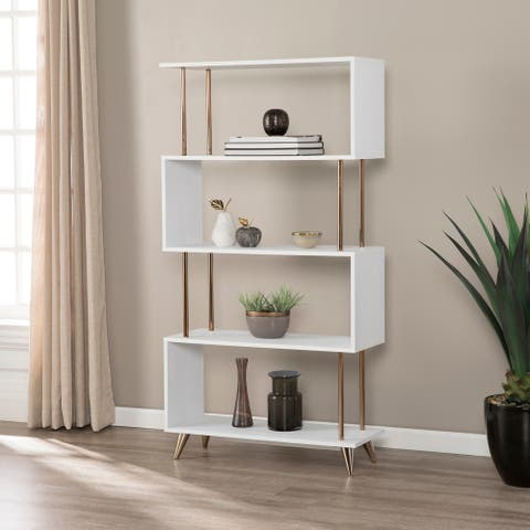 Carson Carrington Brinton White/ Copper Finish Metal Bookcase Etagere