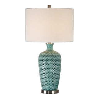 Find Pitted Teal Ceramic Table Lamp