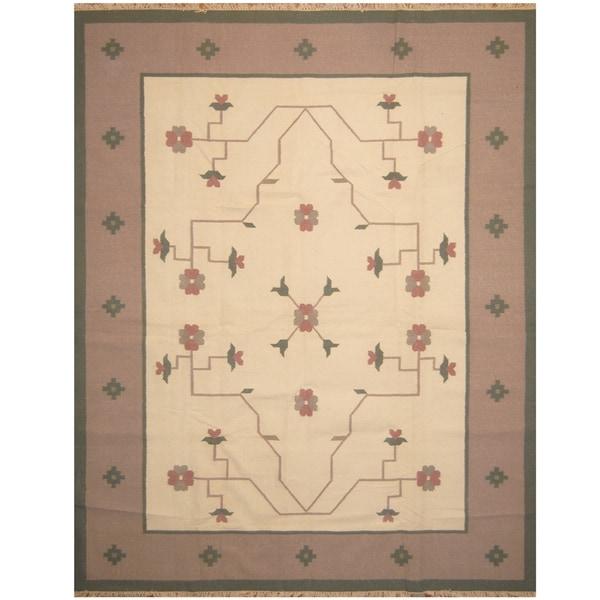 Handmade One-of-a-Kind Wool Kilim (India) - 9'3 x 11'9