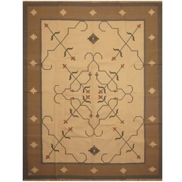 Handmade One-of-a-Kind Wool Kilim (India) - 9'2 x 11'10