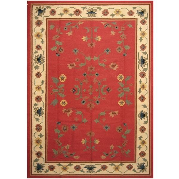 Handmade One-of-a-Kind Wool Kilim (India) - 9' x 12'3