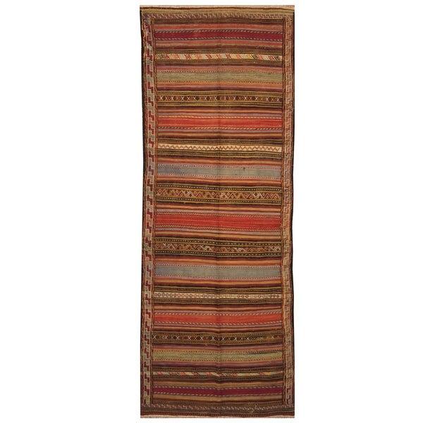 Handmade One-of-a-Kind Shiraz Kashgahi Wool Kilim (Iran) - 4'5 x 11'9