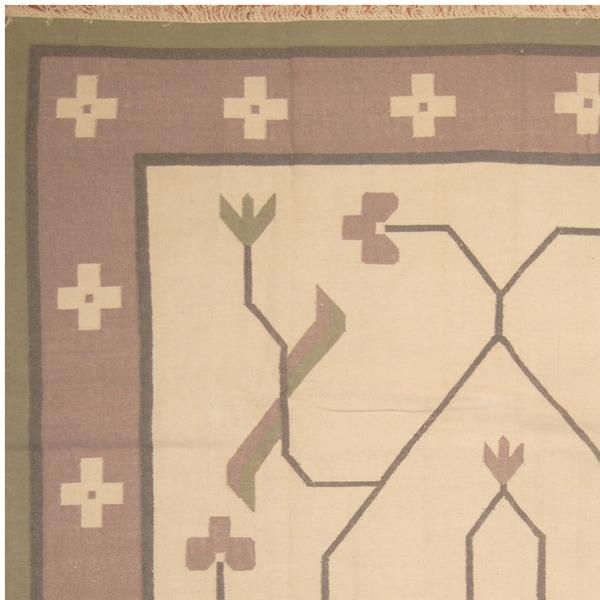 Handmade One-of-a-Kind Wool Kilim (India) - 9' x 12'