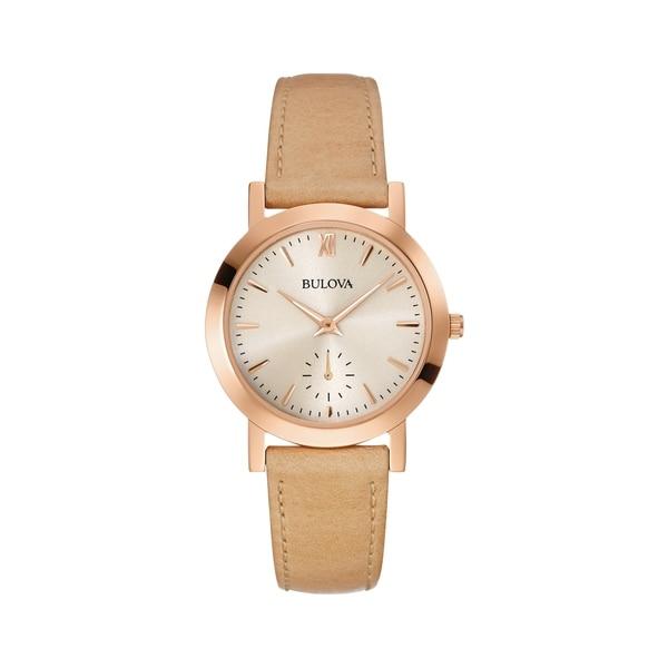 2f53adf7b Shop Bulova Women's 97L146 Rosegold Beige Leather Strap Watch - Free ...