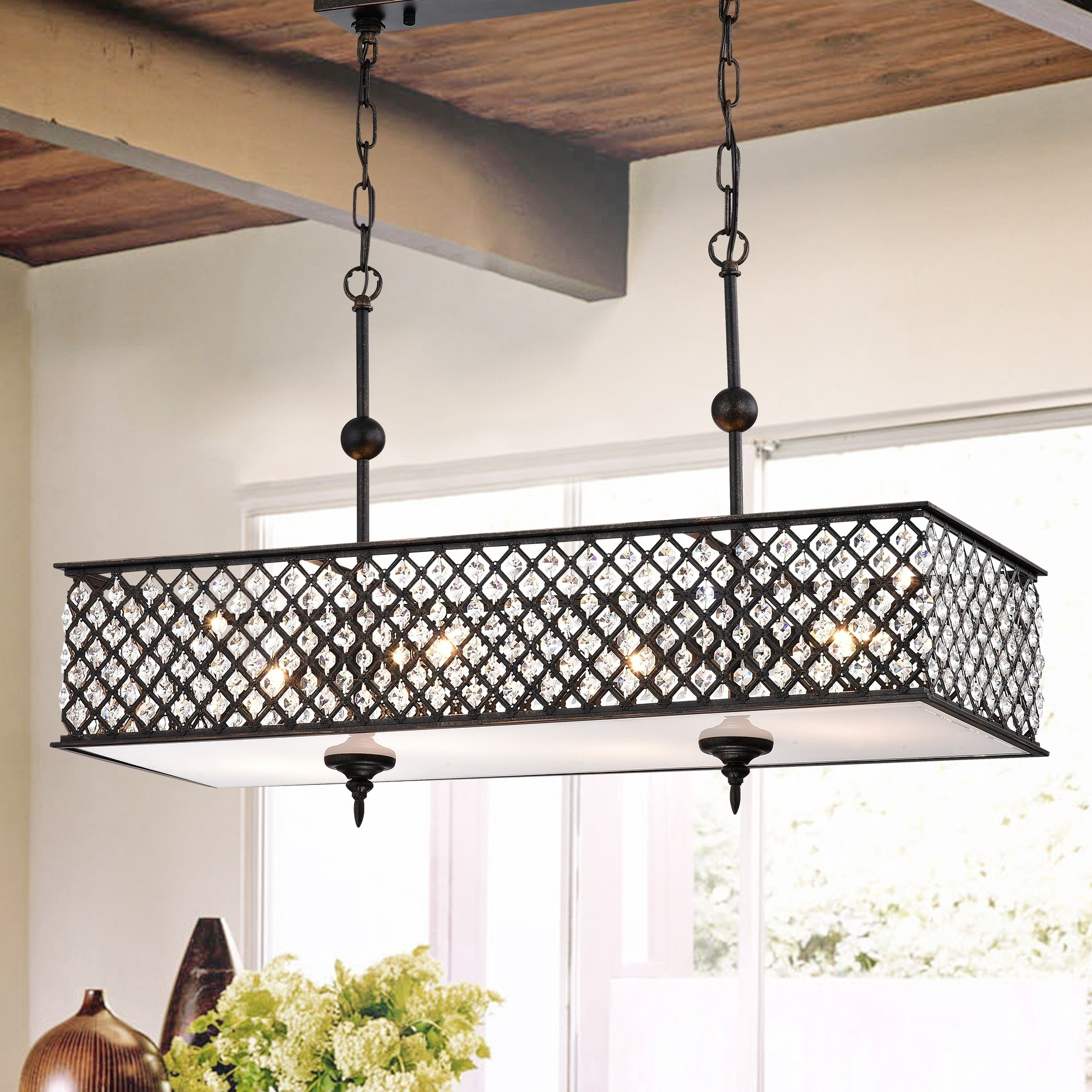 Shop Black Friday Deals On Warehouse Of Tiffany Elias 4 Light Antique Copper Chandelier With Crystals Overstock 28266065