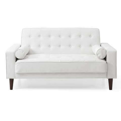 LYKE Home Button Tufted White Sleeper Loveseat