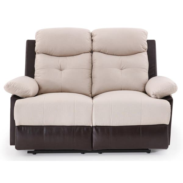 Fine Shop Lyke Home Two Tone Beige Reclining Loveseat Free Inzonedesignstudio Interior Chair Design Inzonedesignstudiocom