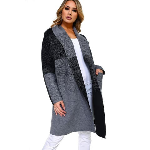 Women's Striped Oversized Thick Knit Open Front Cardigan