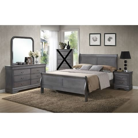Classic Louis Philippe Styling Grey Twin/Full/Queen/King Bedroom Set