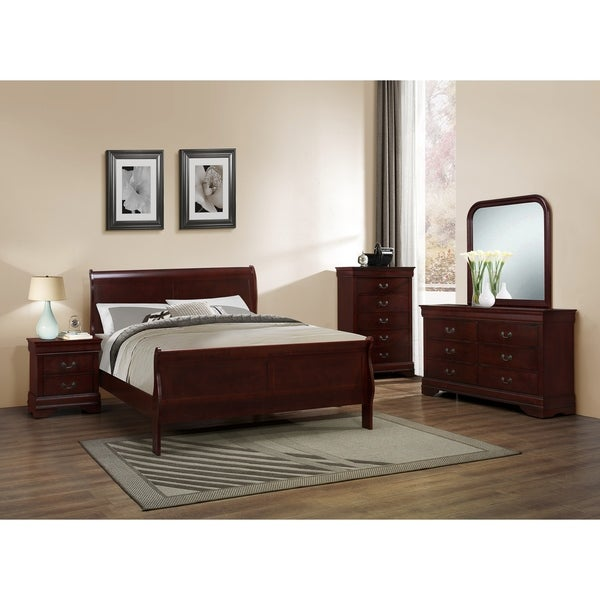 Classic Louis Philippe Styling Cherry Twin/Full/Queen/King Bedroom Set