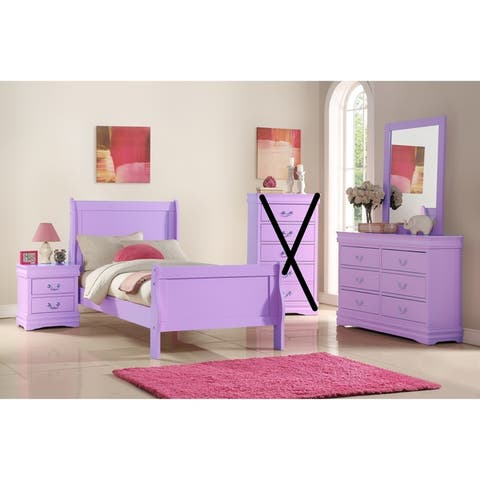 Classic Louis Philippe Styling Lilac Kids Twin/Full Bedroom Set
