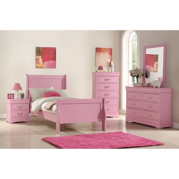 Classic Louis Philippe Styling Pink Kids Twin/Full Bedroom Set