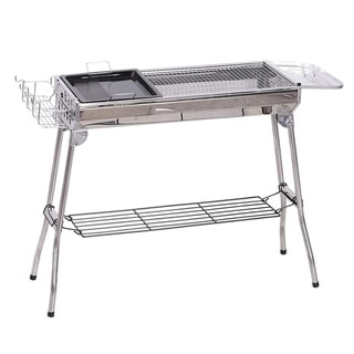 Link to Outsunny Portable Folding Charcoal BBQ Grill Stainless Steel Camp Picnic Cooker with a Large Non-Stick Cooking Space Similar Items in Grills & Outdoor Cooking