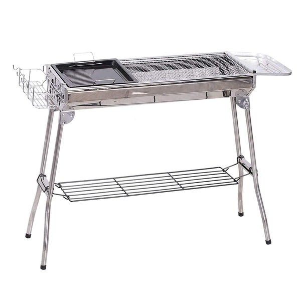 Outsunny Portable Folding Charcoal BBQ Grill Stainless Steel Camp Picnic Cooker with a Large Non-Stick Cooking Space