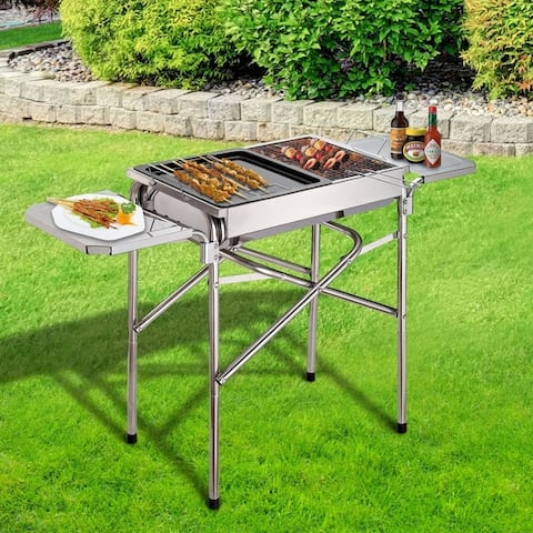 Outsunny Steel Folding Outdoor Charcoal BBQ Grill
