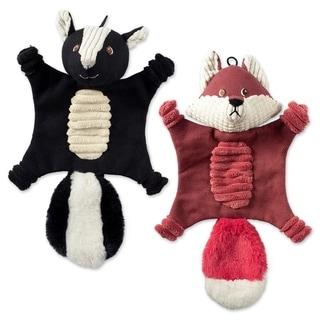 DII Squeaker Canvas Pet Toy (2/Flat - Bella Fox & Sasha Skunk - Set of Two)
