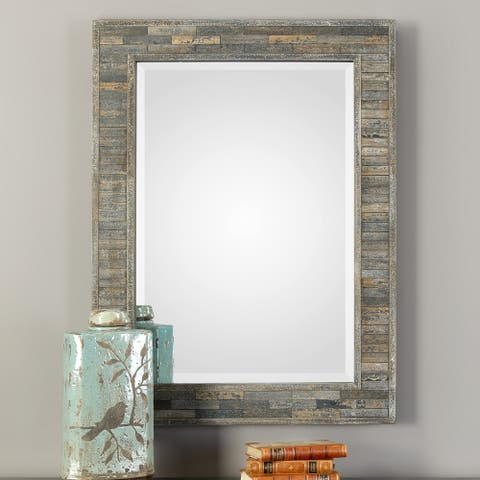 Carbon Loft Charcoal Blue Rectangular Mirror