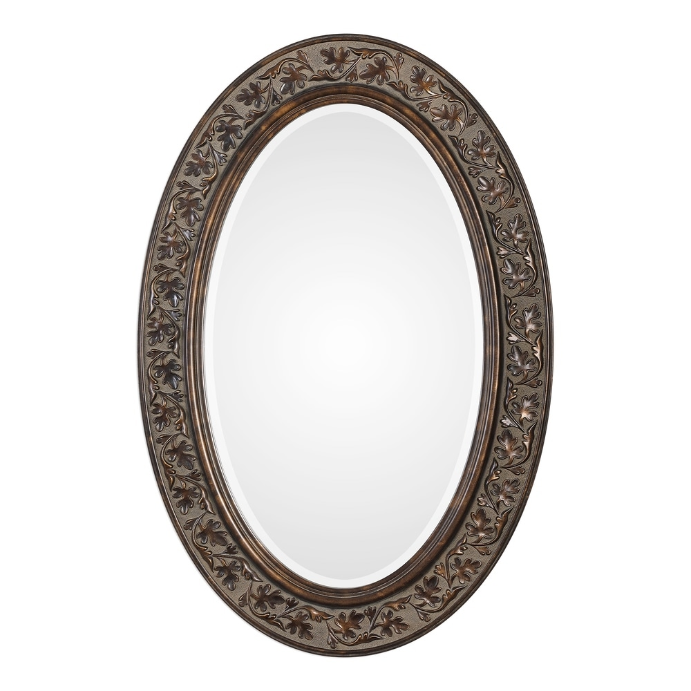 Deep Rimmed Antique Gold Small Round Mirror Suitable Addition Home