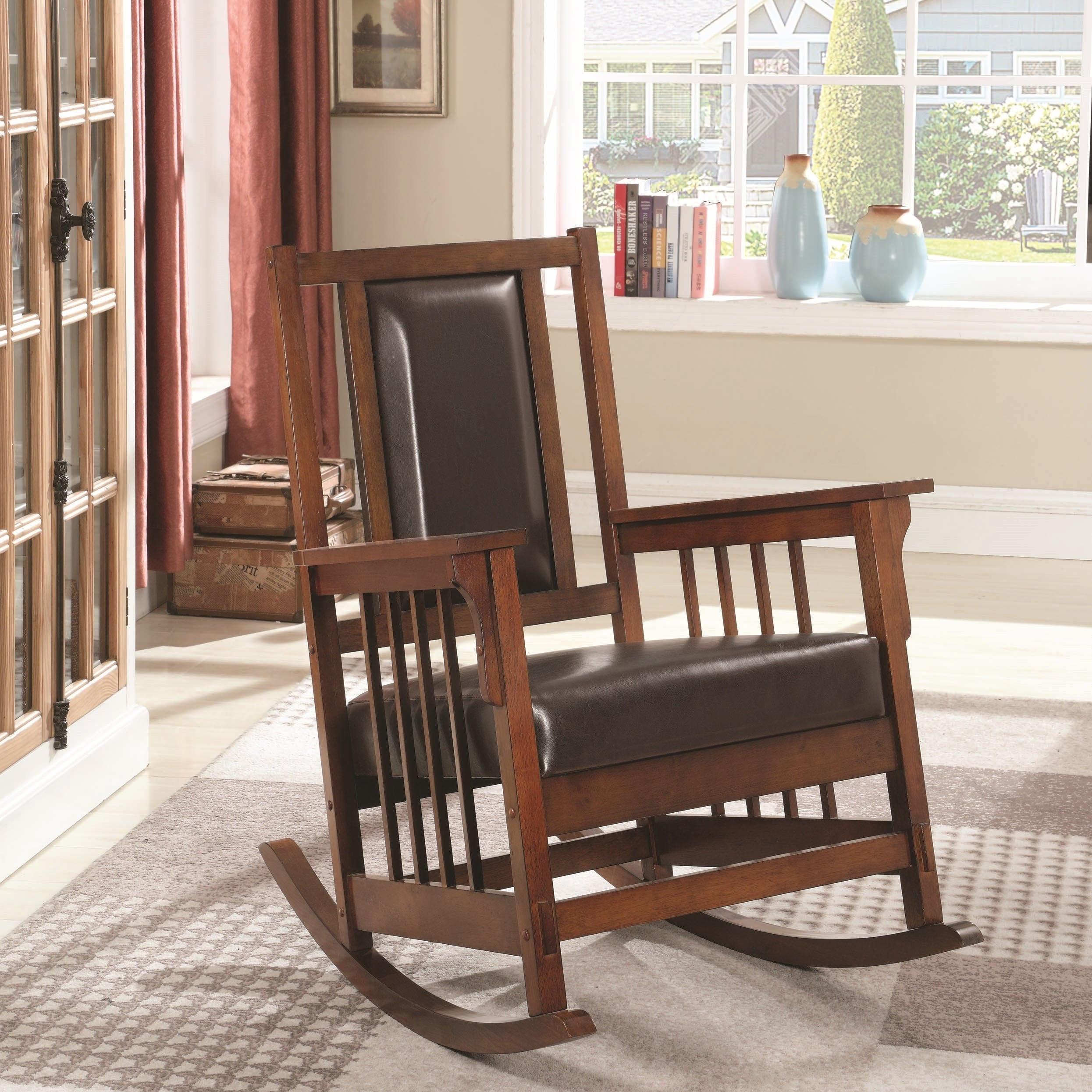 official photos 49ed7 6fda2 Mission Design Wood Rocking Chair with Brown Leather Seat