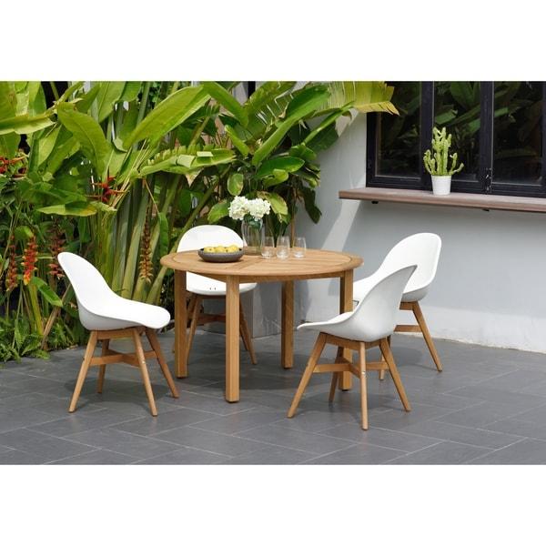 Ia Eucalyptus Teak Finish Bondi 5 Piece Round Patio Dining Set