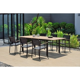 Toledo Rectangular and Extendable Black 7-Piece Patio Dining Set with Teak Finish by Amazonia
