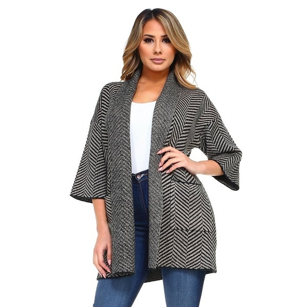 Women's Chevron Thick Knit Open Front Cardigan