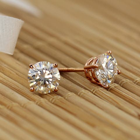 14k Gold 1ctw Round Lab Grown Diamond Stud Earrings by Ethical Sparkle