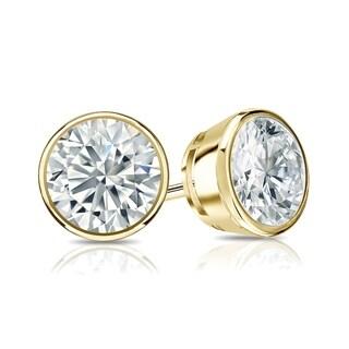 Ethical Sparkle 1 1/4ctw Round Bezel Set Lab Grown Diamond Stud Earrings 14k Gold