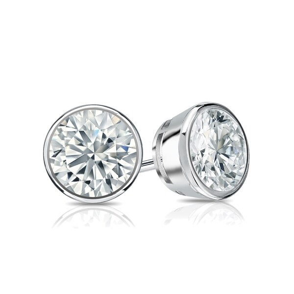 Ethical Sparkle 1ctw Round Bezel Set Lab Grown Diamond Stud Earrings 14k Gold
