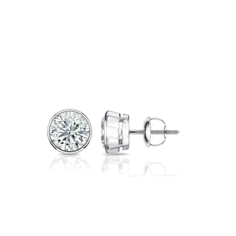 Ethical Sparkle 1/2ctw Round Bezel Set Lab Grown Diamond Stud Earrings 14k Gold