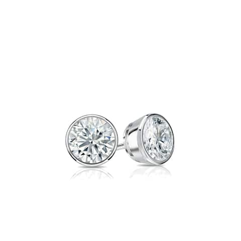 14k Gold 0.25ctw Bezel-set Lab Grown Diamond Stud Earrings by Ethical Sparkle