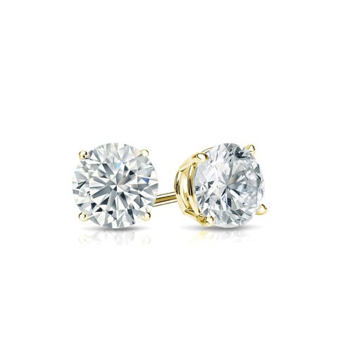 Ethical Sparkle 1/2ctw Round Lab Grown Diamond Stud Earrings 14k Gold
