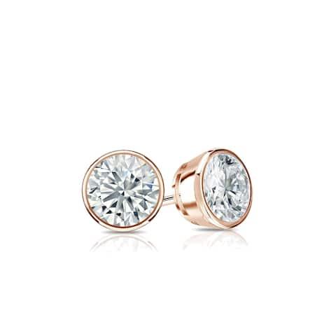 Ethical Sparkle 1/3ctw Round Bezel Set Lab Grown Diamond Stud Earrings 14k Gold