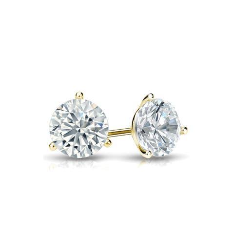 Ethical Sparkle 1/2ctw Lab Grown Diamond Stud Earrings 14k Gold Martini Set