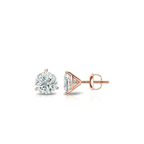Round 1/3ctw Diamond Stud Earrings Lab Grown Martini-set 14k Gold by Ethical Sparkle