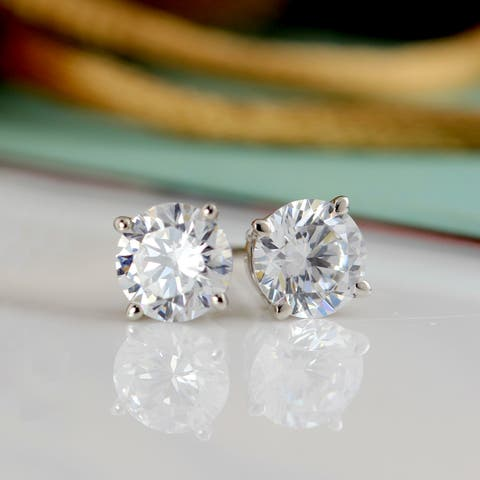 Round 1/4ctw Lab Grown Diamond Stud Earrings 14k Gold by Ethical Sparkle