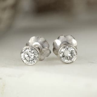Ethical Sparkle 1/4ctw Round Bezel Set Lab Grown Diamond Stud Earrings 14k Gold