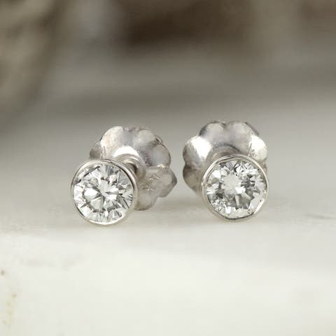 Round 1/4ctw Lab Grown Diamond Stud Earrings Bezel 14k Gold by Ethical Sparkle