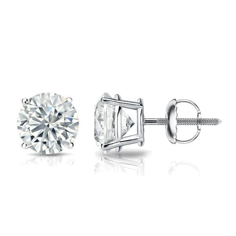 Round 1 1/2ctw Lab Grown Diamond Stud Earrings 14k Gold by Ethical Sparkle