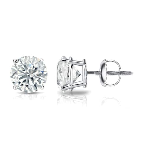 Ethical Sparkle 1 1/2ctw Round Lab Grown Diamond Stud Earrings 14k Gold